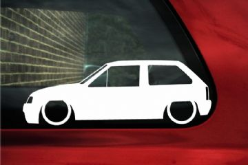 2x LOW Vauxhall Nova / Opel Corsa A GSi, SRi (3 door) Silhouette stickers, Decals